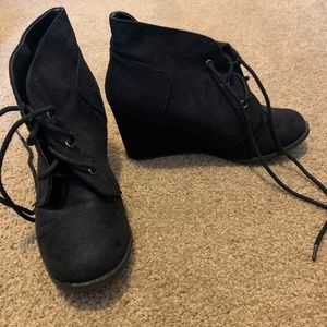 Black Suede Booties - size 6
